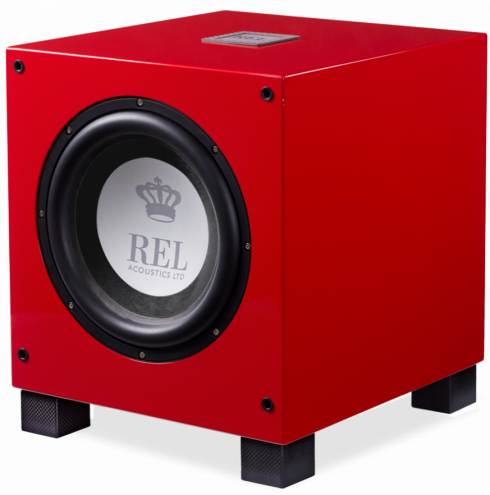 REL Acoustics REL T9i Pianoröd/kolfiber detaljer - Limiterad upplaga